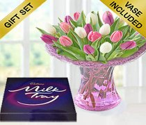 Mixed Pink and White Tulip Vase with a box of Milk-Tray Chocolates Code: JGFMD631MPTVC  | Local Delivery Only