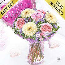 Mother's Day with love vase with a helium happy mother's day balloon Code: JGFM48020MC-MB  | Local Delivery Or Collect From Shop Only