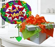 Get Well Balloon in a Box Green and Orange Code: JGF9967GWGOBB (Local Delivery Only)