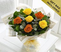 Six Stolen Kisses a Orange and Yellow Rose Hand-tied Code: JGF206YOXX