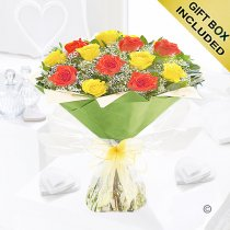 Heavenly Mixed Orange and Yellow Rose Hand-tied with White Gypsophila Code JGF1457OYH| Local Delivery Or Collect From Shop Only