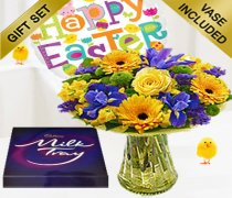 Spring Flower Gift Vase with Happy Easter Helium Balloon and a Box of Milk-Tray Chocolates Code: JGFE23SPMTEB