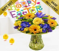 Spring Flower Gift Vase with a Fun Helium Filled Happy Easter Balloon Code: JGF54SPHEB