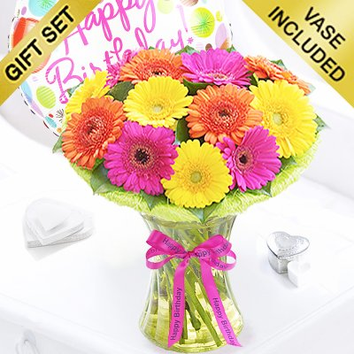 Happy Birthday Germini Cheer Vase with a fun Happy Birthday Balloon Code:JGF334GGCHBB ( Local Delivery Only )