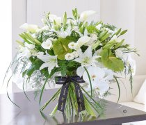 Luxury White Lily and Anthurium Contemporary Hand-tied Code: L21011WS