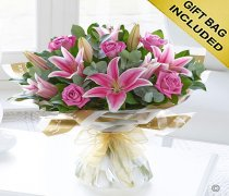 Pink Rose and Lily hand-tied Code: C00411PS