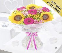 Hot Pink Sunflower Hand tied  Code: JGFSH60431MS | Local Delivery Only