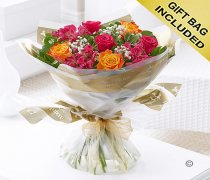 Summer Sunset Rose and Alstroemeria Hand-tied Code: JGFA62271MS  | Local Delivery Or Collect From Shop Only