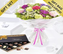 Summer Flower Hand-tied with a Box of Luxury Chocolates Code: JGFS33663SC | Local Delivery Or Collect From Shop Only