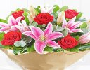 Happy Anniversary Red Rose and Pink Lily Hand-tied Code: JGFA00410HA | Local Delivery Only