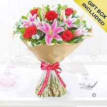 Happy Anniversary Red Rose and Pink Lily Hand-tied Code: JGFA00410HA | Local Delivery Or Collect From Shop Only