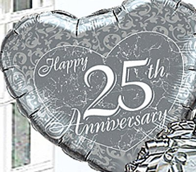 Silver Wedding Happy 25th Anniversary Helium Balloon In A