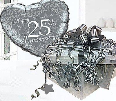 Silver Wedding Happy 25th Anniversary Helium Balloon In A