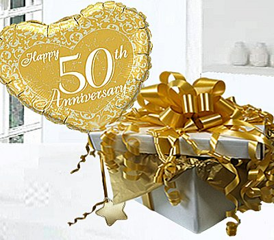 Wedding anniversary gifts 50th wedding anniversary gifts gold - Golden Wedding Happy 50th Anniversary Helium Balloon In A
