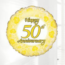 Golden Wedding Happy 50th Anniversary Hart Balloon Code: JGF22250GWHAB (Local Delivery Only)