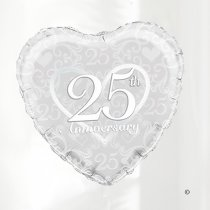 Silver Wedding Happy 25th Anniversary Hart Balloon Code: JGF22235SHAB (Local Delivery Only)