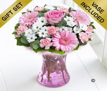 Pink Perfect Gift Vase with Luxury Chocolates Code: C00941PB