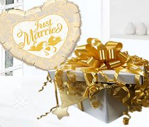 Just Married Balloon in Box Gold Code:JGF78GJMBB