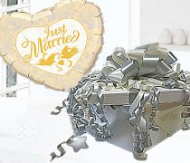 Just Married Gold Balloon  in Box Silver and Ivory Code:JGF39GSIJMBB