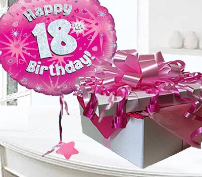 Happy 18th Birthday Balloon In A Box Pink CodeJGF18H18BBB