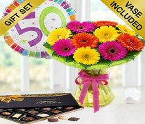 50th Birthday Germini Perfect Gift Vase Arrangement with a 50th Birthday Day Balloon and Luxury Chocolates Code: JGF7040GCB0  ( Local Delivery Only )