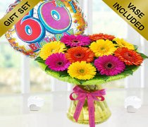 60th Birthday Germini Perfect Gift with a Fun Happy 60th Birthday Day Balloon Code: JGF12060PGB  | Local Delivery Only