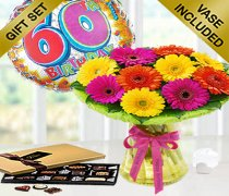 60th Birthday Germini Perfect Gift Vase Arrangement with a Fun Happy 60th Birthday Day Balloon and Mouth-Watering Chocolates Code: JGF6060GPCB