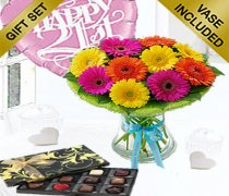 21th Birthday Germini Perfect Gift Vase Arrangement with a Fun Happy 21th Birthday Day Balloon and Mouth-Watering Chocolates Code: JGF2121GPCB