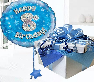 Happy 8th Birthday Balloon In A Box Blue CodeJGF8BH8BBB