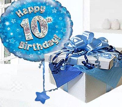 Happy 10th Birthday Balloon In A Box Blue CodeJGF10BH10BBB
