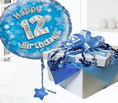 Happy 12th Birthday Balloon In A Box Blue CodeJGF12BH12BBB