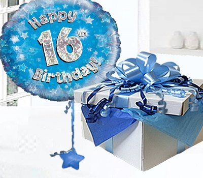 Happy 16th Birthday Balloon In A Box Blue CodeJGF16BH16BBB