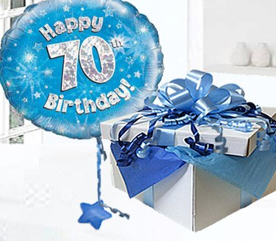 Happy 70th Birthday Balloon In A Box Blue CodeJGF70BH70BBB