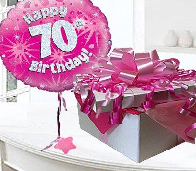 Happy 70th Birthday Balloon In A Box Pink CodeJGF70H70BB