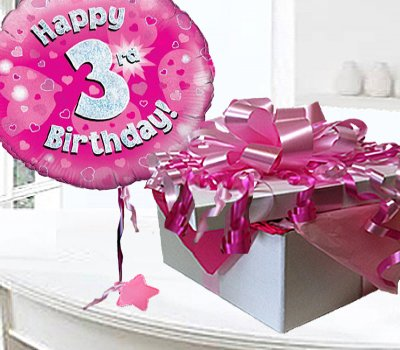 Happy 3rd Birthday Balloon In A Box Pink CodeJGF3H3BBB