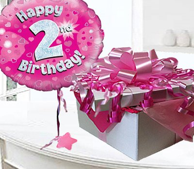 Happy 2nd Birthday Balloon In A Box Pink CodeJGF2H2BBB