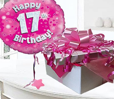 Happy 17th Birthday Balloon In A Box Pink Code