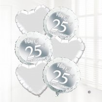 Silver Happy 25th Wedding Anniversary Balloon Bouquet   Code:JGF778SWBB