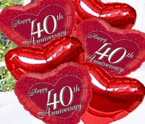 Ruby Happy Wedding Anniversary Balloon Bouquet Code:JGF689RWABB