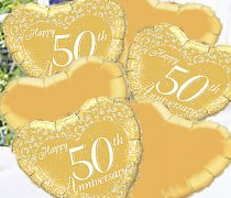 Golden Happy Wedding Anniversary Balloon Bouquet Code:JGF690GWABB