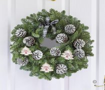 Festive Door Wreath Frosted Cones Code: JGFX81186MS  | Local Delivery Or Collect From Shop Only