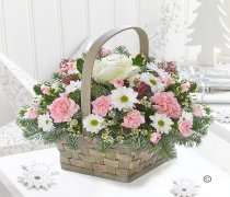Winter Beauty Flower Basket Code:JGFX50111WB  | Local Delivery Or Collect From Shop