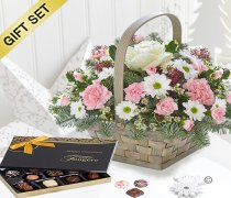 Winter Beauty Flower Basket with A Box Of Luxury Chocolates Code:JGFX50111WBC | Local Delivery Or Collect From Shop Only