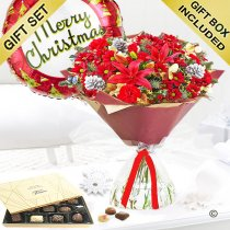 Christmas Cracker Hand-tied With Luxury Chocolates and a Merry Christmas Helium Balloon Code:JGFX80051RS-CB | Local Delivery Or Collect From Shop Only