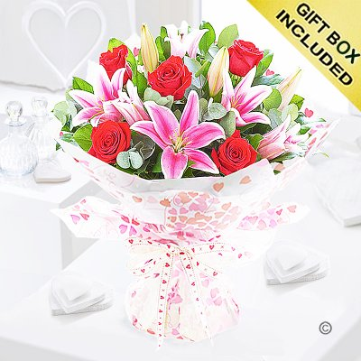 Rose and Lily Hand-tied Code: JGFV20072RL | Local Delivery Or Collect From Shop Only