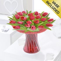 Red Tulip Vase Code: JGFSP40671RT| Local Delivery Only