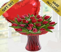 Red Tulip Vase with a Fun filled Helium Plain Red Heart Balloon Code: JGFV40675RHB | Local Delivery Only