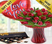 Red Tulip Vase with Luxury Chocolates and a Fun Helium filled I Love You Heart Balloon.Code: JGF V40671RSBC | Local Delivery Only