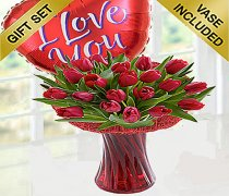 Red Tulip Vase with  a Fun Helium filled I Love You Heart Balloon Code: JGFV40671RTB | Local Delivery Only