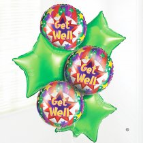 Get Well Helium Balloon Bouquet Code: C02441ZF | Local Delivery Only